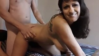 Naughty mature mom having a real orgasm with young stud