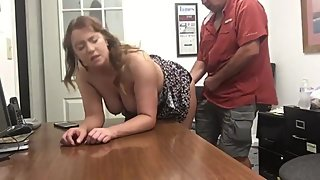 Mature woman having a real orgasm with her boss after interview
