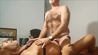 Leather old man sucks & fucks another daddy