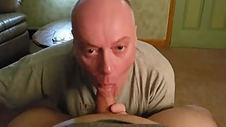 Nice bald older daddy sucking his friend's dick -1