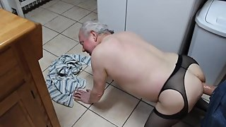 Lovely grandpa gets a huge dildo doggy style