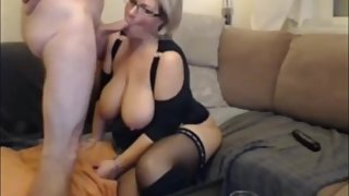 Naughty mature MILF with very big boobs having fun with her new boss