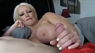 Naughty MILF with big tits seduces her shy stepson with big cock