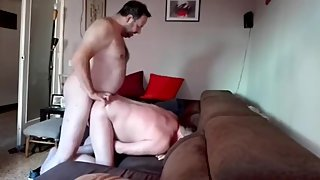 Hungry old man sucking cock & getting fucked by chubby man