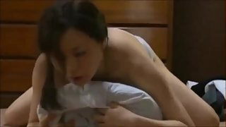 Hot, horny Japanese mature woman grinds and humps to achieve orgasm