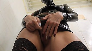Rubber latex mature pissing golden shower