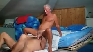 Two older men suck & fuck on the floor