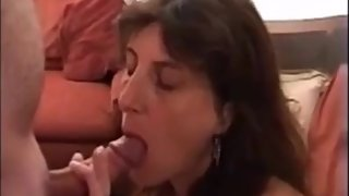 Hot milf give a very slow blowjob and drink cum