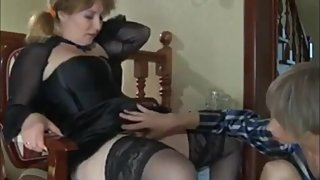 Slutty mature stepmom with big tits likes morning sex with her stepson