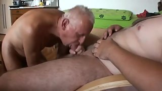 German grandpa sucking friend's cock & eating cum