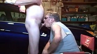 Grandpa rimming & sucking daddy's dick