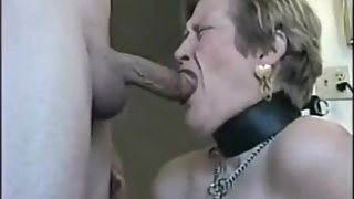 Sub mature wife deepthroat and cum on face