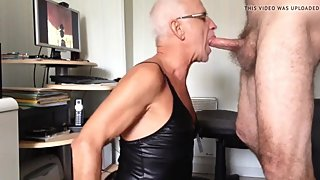 Grandpa crossdresser sucking dick & getting fucked