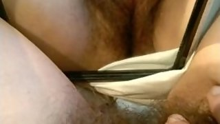 Horny Hairy Milf Playing With Mirror On Bed