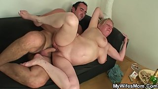 Wife catches him fucking big tits old mother in law