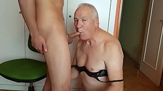 Handsome grandpa crossdresser sucking cock & eating cum