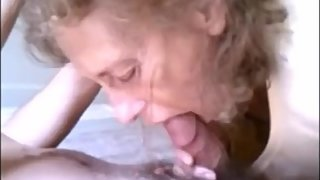 Skinny granny sucking dick and drink cum
