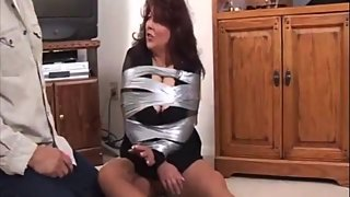 Chubby mature all taped up