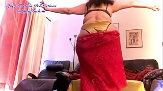 Bluesy Dance Strip Tease in Red Lace