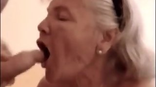 Big grandma sucking dick and get cum in mouth