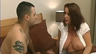 Horny cougar stepmom seduces and fucks hard her lucky stepson with big dick
