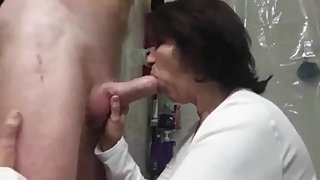 Mature bitch sucks young cock like a real master