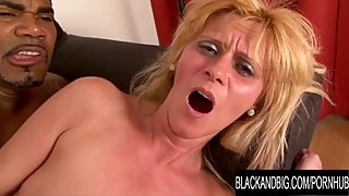 Granny Vs BBC - Blonde Mature Scarlet Mika Receives an Interracial Creampie