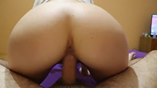 Russian babe rides a dick