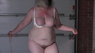 bbw with huge boobs jumping rope