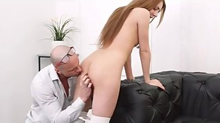 Skinny student gets distracted from lessons with cock