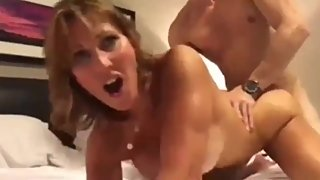 Lucky stepson with big cock fucks hard his mature stepmom with creampie