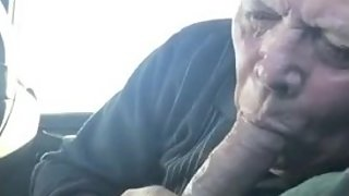 Bald Grandpa gives an amazing blowjob & eats cum