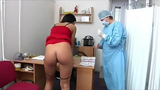 Anal Examination On Prostitute / Skin Tight Latex Gloves / Mature Doctor