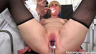 Horny granny gyno exam and fucking machine orgasm