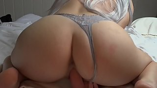 Tight Amateur Babe with Big Ass Rides Dildo - Wild Lotus