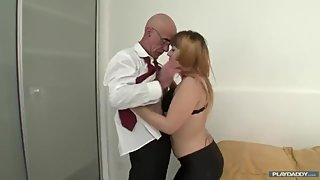 Bald daddy fucks girl