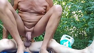 Moustach old man sucking & getting fucked outdoors