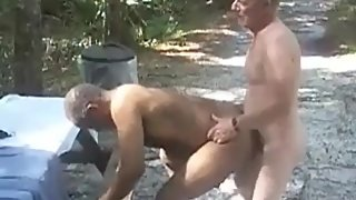 Black guy sucks & gets fucked by grandpa outdoors