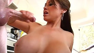 *CLASSIC* BUSTY ASIAN MILF KIANNA DIOR HANDJOB KITCHEN CUMFOOD
