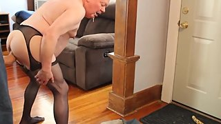 Grandpa sucks and takes huge dildo up his ass