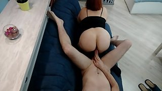 Redhead hot mature mom crying rides on dick, missionary amateur hard fuck