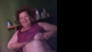 Fat ugly wife turned 54 years old and shows me her saggy tits