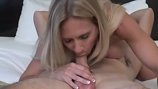 Shameless mature stepmom with big tits sucks her stepson's monster cock