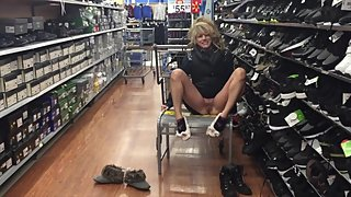 TRYING ON SHOES WITH NO PANTIES IN WALMART GETTING ATTENTION