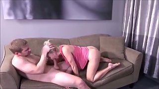 FUCK BLONDE MILF ON SOFA