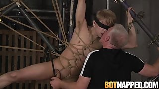 Restrained 18yo Daniel Hausser has cock and balls tormented