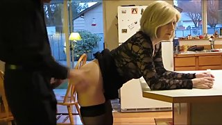 Taboo! Mature stepmom gets hot anal creampie from her stepson in kitchen